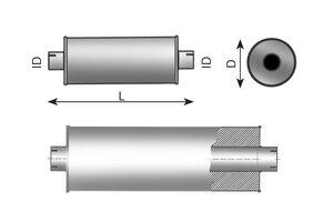 Middle Silencer 1140mm, 184mm, 77.0, ALU