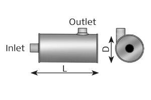 Middle Silencer 540mm, 263mm, 77.0/75.0, ALU