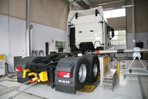 The Dinex Test Center has a heavy-duty chassis dyno