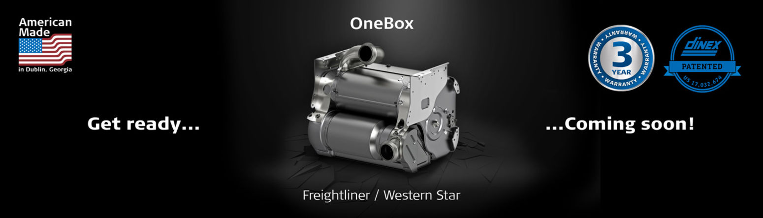 Dinex OneBox exhaust solution used on Freightliner and Western Star trucks