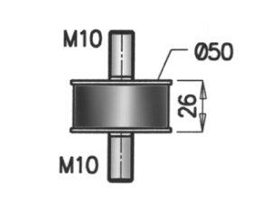 Rubber Mounting, MAN, Ø=50 / L=92, M10, ZINC