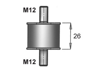 Rubber Mounting, DAF, Ø=46 /L=72, M12, ZINC