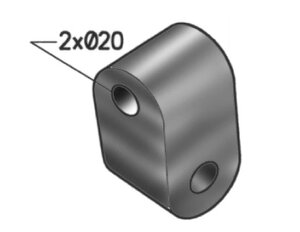 Rubber Mounting, ERF, L=100, W=60, H=60, Rubber