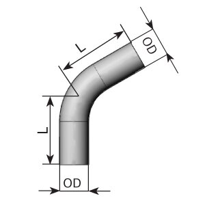 60° Exhaust Bend, OD=50 / L=155, ALU