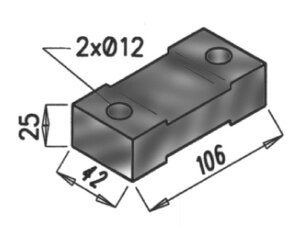 Rubber Mounting, DAF, L=106, W=42, H=25, Rubber