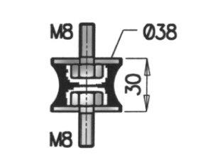 Rubber Mounting, DAF, Ø=40 /L=76, M8, ZINC