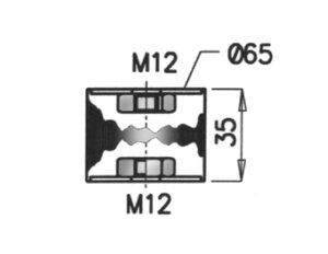 Rubber Mounting, Scania,  Ø=65 /L=35, M12, ZINC