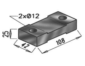 Rubber Mounting, Mercedes, L=108, W=42, H=25, M8, ZINC