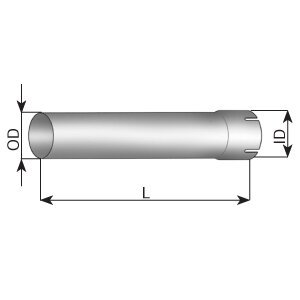 Extension Pipe, OD/ID= 101.6/102.1 / L=600, ALU