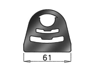 Rubber Mounting, Mercedes, L=31, W=65, H=61, Rubber