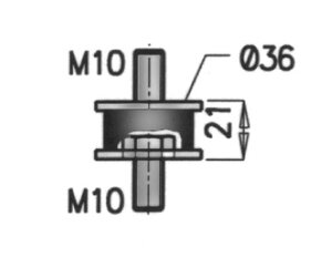 Rubber Mounting, Mercedes, Ø=38 /L=68, M10, ZINC