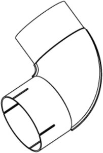 90° Exhaust Elbow, OD/ID=110/111 / L=200/210, SPD