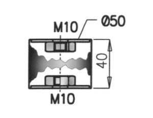 Rubber Mounting, Volvo, Ø=50 / L=40, M10, ZINC