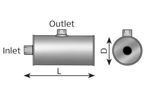Middle Silencer 920mm, 234mm, 90.0/115.5, ALU
