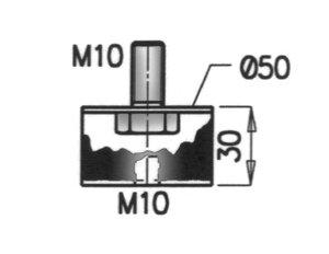 Rubber Mounting, MAN, Ø=50 / L=53.5, M10, ZINC