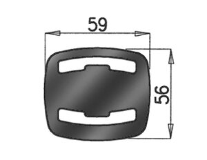 Rubber Mounting, Mercedes, L=31, W=62, H=59, Rubber