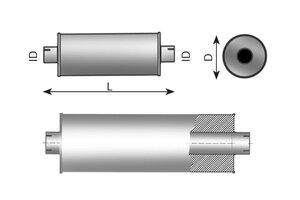Middle Silencer 1140mm, 184mm, 77.0, ALU