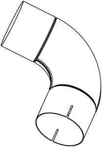 90° Exhaust Elbow, OD/ID=114.3/114.5 / L=257, INOX