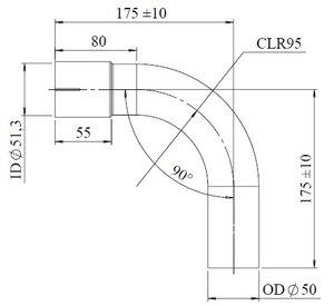 90° Exhaust Elbow, OD/ID=50/51.3 / L=200, SPD