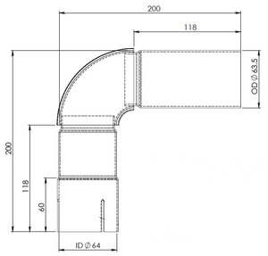 90° Exhaust Elbow, OD/ID=63.5/64 / L=200, SPD