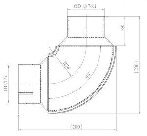 90° Exhaust Elbow, OD/ID=76.1/77 / L=200, SPD