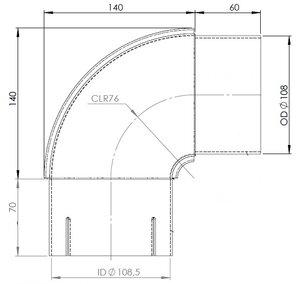 90° Exhaust Elbow, OD/ID=108/108.5 / L=200/210, SPD