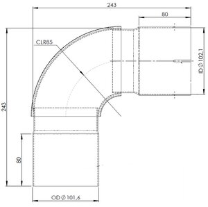 90° Exhaust Elbow, OD/ID=101.6/102.1 / L=243, INOX