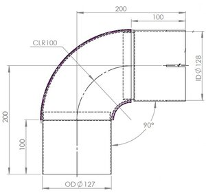90° Exhaust Elbow, OD/ID=127/127 / L=264, INOX