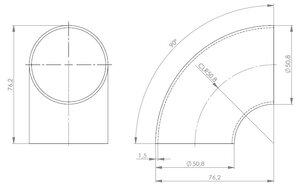 90° Elbow Welded/Thin Wall OD=50.8 / T=1.5, SPD