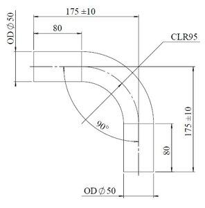 90° Exhaust Elbow, OD=50 / L=200, SPD
