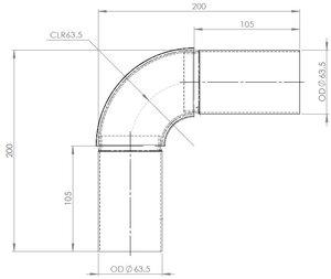 90° Exhaust Elbow, OD=63.5 / L=200, SPD