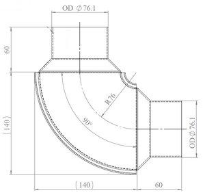 90° Exhaust Elbow, OD=76.2 / L=194, SPD