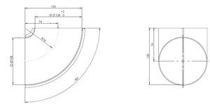 90° Elbow Welded/Thin Wall OD=108 / T=1.5, SPD