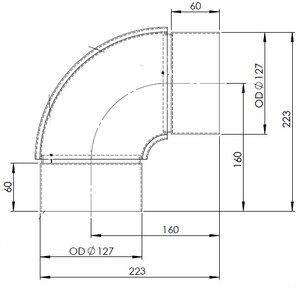90° Exhaust Elbow, OD=127 / L=223, SPD