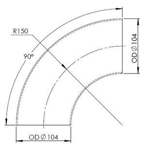 90° Elbow Cast OD=104 / T=2, INOX