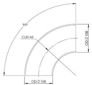 90° Elbow Cast OD=108 / T=3.6, SPD
