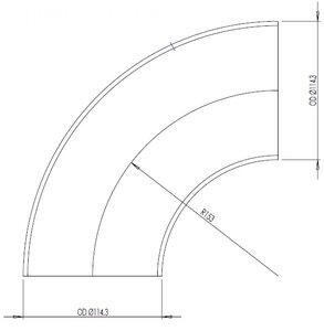 90° Elbow Cast OD=114.3 / T=3.6, SPD
