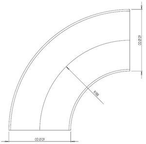90° Elbow Cast OD=129 / T=2, INOX