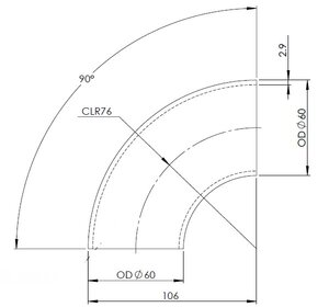 90° Elbow Cast OD=60 / T=2.9, SPD