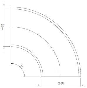 90° Elbow Cast OD=70 / T=2.9, SPD