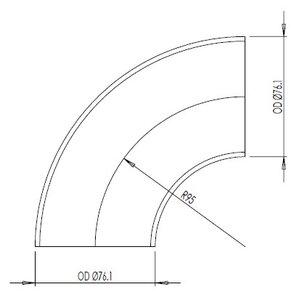 90° Elbow Cast OD=76.1 / T=2.9, SPD