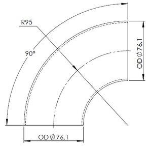 90° Elbow Cast OD=76.1 / T=2, INOX