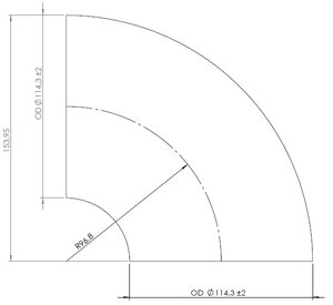 90° Elbow Welded/Thin Wall OD=114.3 / T=1.5, INOX
