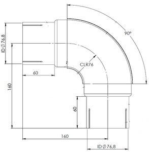 90° Exhaust Elbow, ID=76.8 / L=200, INOX