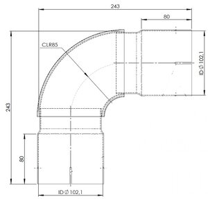 90° Exhaust Elbow, ID=102.1 / L=243, INOX